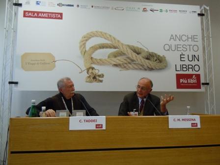 Foto C. Messina e C. Taddei alla presentazione alla Fiera Più Libri Più Liberi